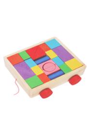 Set cuburi din lemn cu carucior /65720/