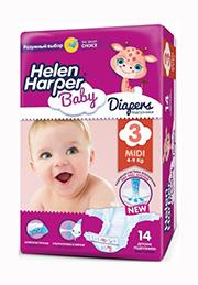 Подгузники Helen Harper Baby MIDI (4-9 kg), 14 шт. /2310845/