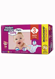 Подгузники Helen Harper Baby MIDI (4-9 kg), 70 шт. /2310851/