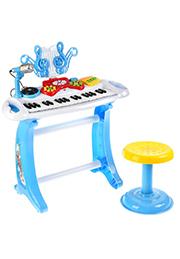Синтезатор детский 37 клавиш, с табуретом и микрофоном /107017/